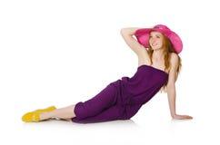 The pretty romantic girl in purple overalls  on white Stock Photo