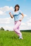 Pretty running girl Stock Image