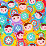 Pretty Russian dolls matryoshka, pink blue green colors colorful bright, seamless pattern. Vector Royalty Free Stock Photography