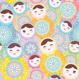 Pretty Russian dolls matryoshka, pink blue green pastel colors colorful, seamless pattern. Vector Royalty Free Stock Image