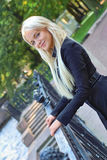 Pretty russian girl. Near handrail Royalty Free Stock Image