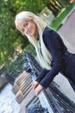 Pretty russian girl. Near handrail royalty free stock image