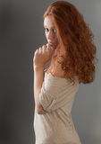 Pretty Russian Woman Looking Over Shoulder Royalty Free Stock Photography