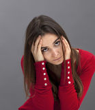 Pretty 20s brunette expressing depression and sorrow Royalty Free Stock Photos