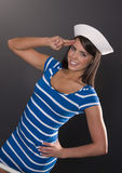 Young Adult Female Pretty Dress Sailor Hat Salute Stock Photography
