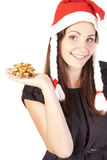 Pretty Santa girl with a bow Stock Photography
