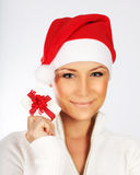 Pretty Santa girl closeup portrait Stock Images