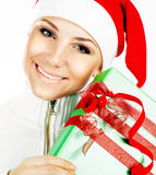 Pretty Santa girl closeup portrait Royalty Free Stock Images