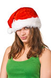 Pretty Santa girl closeup portrait Stock Image