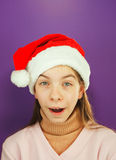 Pretty Santa girl, closeup portrait of a teen girl Royalty Free Stock Photography