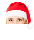 Pretty Santa girl with copy space Stock Images
