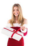 Pretty santa girl opening gift Royalty Free Stock Images
