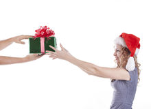 Pretty Santa girl receiving a present gift for New Stock Photo