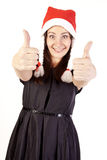 Pretty Santa girl showing hand ok sign Stock Images