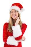 Pretty santa girl smiling at camera Royalty Free Stock Photo