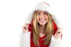 Pretty santa girl smiling at camera Royalty Free Stock Photography