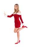 Pretty santa girl smiling at camera Royalty Free Stock Image