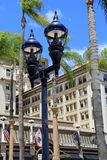 Pretty scene of architecture and old gas lamps in the lamplight district, San Diego, California, 2016. Welcoming sight of historic architecture and old-fashioned Royalty Free Stock Image