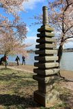 Pretty scene with cherry blossoms and people walking by the statues around The Basin, Washington, DC, 2017 Royalty Free Stock Photography