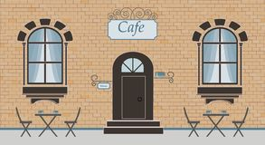Pretty scenery in a rustic style. A facade of cafe, brick wall, two windows, door, stairs, curtains. The cute tables with cups of vector illustration