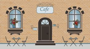 Pretty scenery in a rustic style. A facade of cafe, brick wall, two windows, door, stairs, red flowers, curtains. The cute tables stock illustration