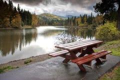 Pretty scenic by the picnic table. Stock Photo