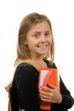 Pretty School Girl with books and backpack Royalty Free Stock Photos