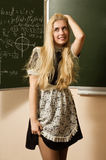 Pretty school girl on math classes Royalty Free Stock Photos