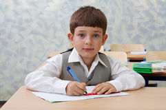 Pretty Schoolboy at the lesson Stock Photos