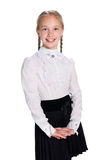 Pretty schoolgirl against the white Stock Photography