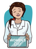 Pretty Scientific Woman Celebrating Women's Day in her Tablet, Vector Illustration stock photos