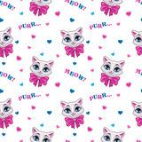 Pretty Seamless Pattern With Cute Kitty Stock Photo