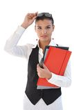 Pretty secretary with folders Royalty Free Stock Photo
