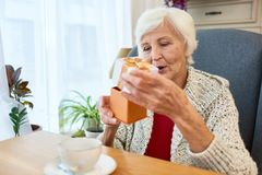 Pretty Senior Woman Celebrating Birthday stock image
