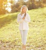 Pretty sensual woman in sunny autumn day Stock Image