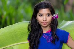 Pretty serious young Vietnamese woman royalty free stock photo