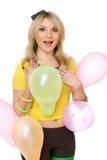 Pretty sexy blond girl with balloons Royalty Free Stock Photography