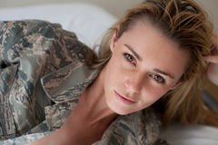Pretty Sexy Camouflage woman Stock Photography