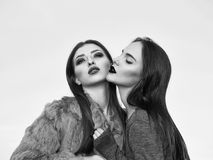 Women kissing outdoor. Pretty cute women in gray fur with fashion makeup and girl in black shirt embracing and kissing outdoor on blue sky background royalty free stock image