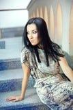 Pretty fashion girl sitting Stock Image