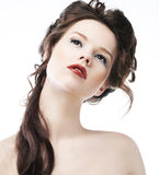 Pretty girl with sensual red lips closeup royalty free stock image