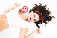 Pretty sexy pin up girl with lollipop Royalty Free Stock Photos