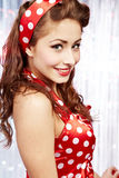 Pretty sexy pin-up women. Pretty sexy pin up in red dress Royalty Free Stock Image