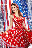 Pretty sexy pin-up women. Pretty sexy pin up in red dress Royalty Free Stock Images