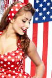 Pretty sexy pin-up women. Pretty sexy pin up in red dress Stock Photo