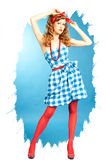 Pretty redhead Pin Up girl Stock Images