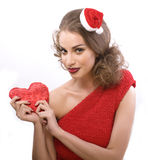 Pretty sexy woman in santas red hat isolated Stock Image