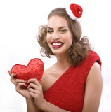 Pretty sexy woman in santas red hat isolated Stock Photo