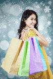 Pretty shopper with snowflake background Stock Photography