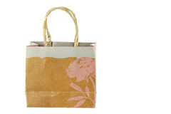 Pretty shopping bag on white background Royalty Free Stock Photography